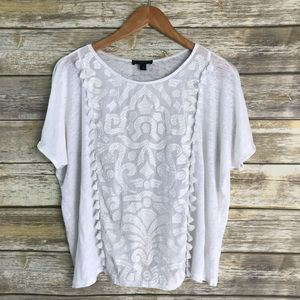 J Crew White Loose Tassel Embroidered Linen Top